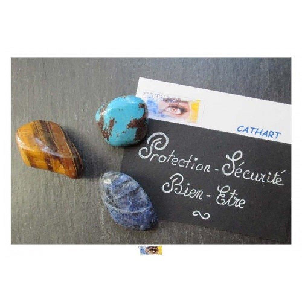 """Pack 3 pierres roulées Turquoise, Sodalite, Œil de tigre """"Protection-Sécurité-Bien-être"""""""
