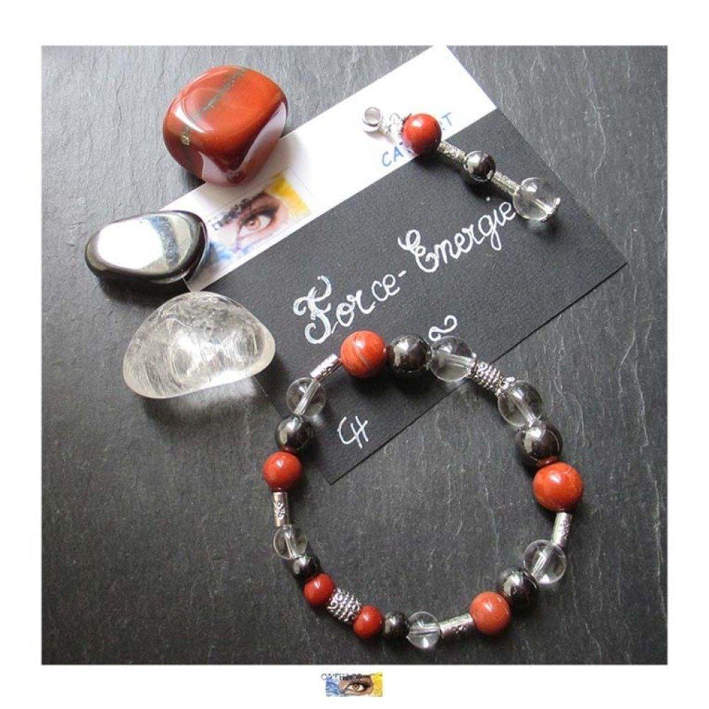 """Pack 3 pierres roulées Jaspe rouge, Cristal de roche, Hématite """"Force - Energie"""""""