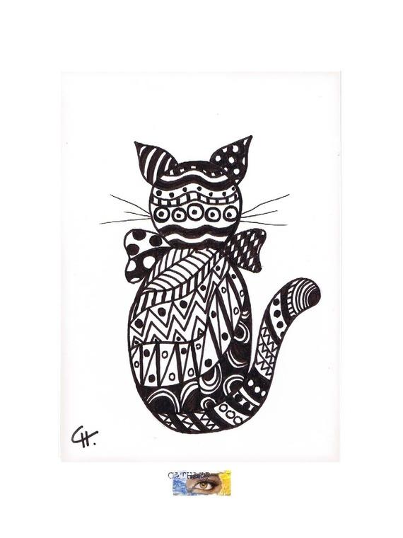 """Carte d'Art - dessin original - """"Chat stylisé graphique en Noir & Blanc"""" sur bristol blanc"""