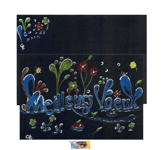 """Carte Noël d'Art """"Meilleurs voeux sous la neige"""" originale avec pastels et encres métallisées pour les fêtes"""