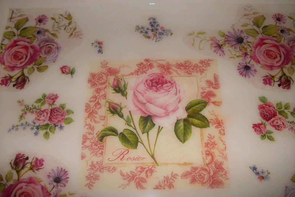 Grand Plateau style anglais,bouquet de roses# 49 X 40 CM