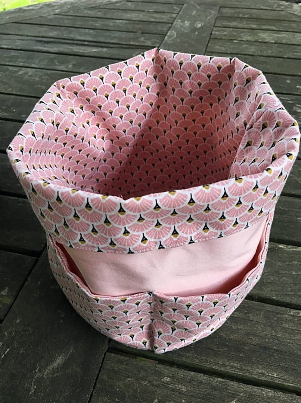 Panière de rangement rose motif retro