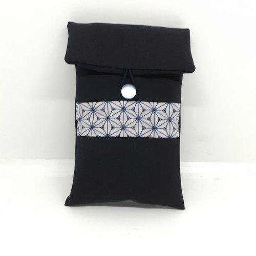 Housse telephone molletonnée bleu tissu japonais