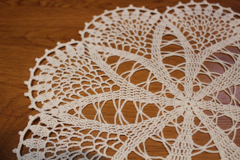 Napperon au crochet rond - FRIVOLE - coton Blanc très fin phildar relais 12 FAIT MAIN