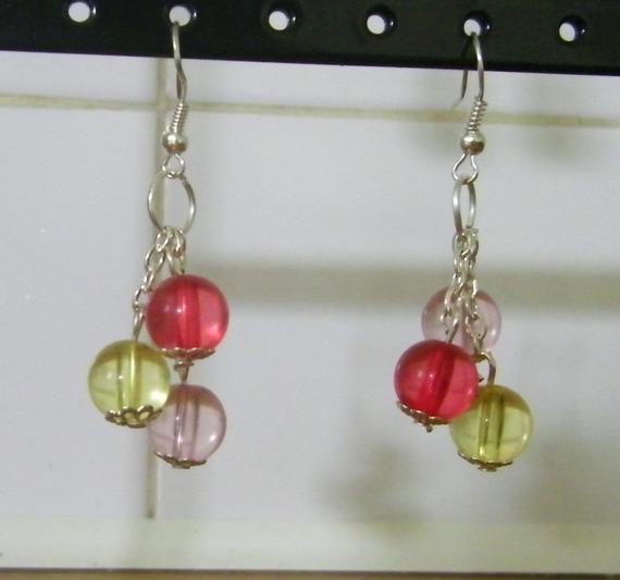 Boucles d'oreille fantaisie trois couleurs