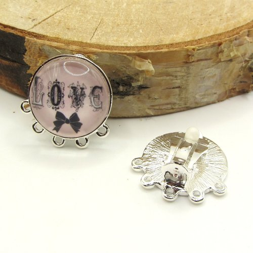 1 paire clip boucles oreilles clip argenté 5 anneaux support cabochon 20 mm