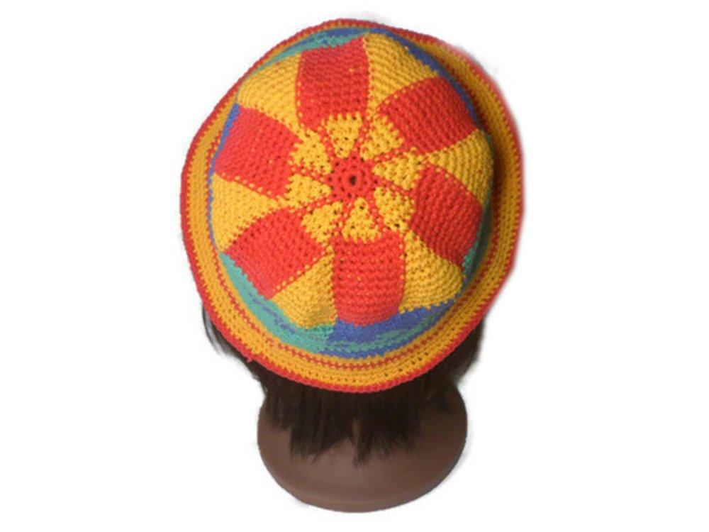 Chapeau crochet arc en ciel pour l'été en coton style ethnique wayuu