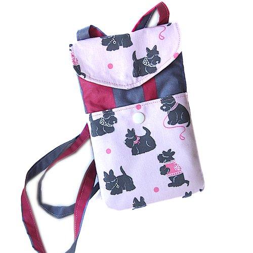 Pochette smartphone bandoulière scottish terriers  2 compartiments ,housse étui portable rose noire,housse étui iphone scotties