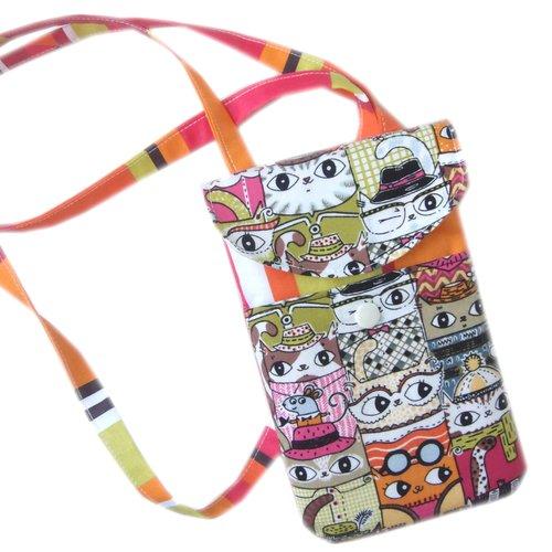 Pochette smartphone chats multicolores à bandoulière 2 compartiments ,housse étui portable,housse étui iphone chats
