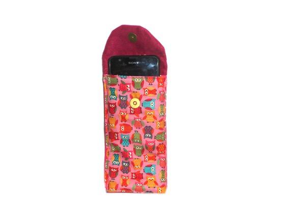 Housse téléphone portable chouette multicolore fond rose