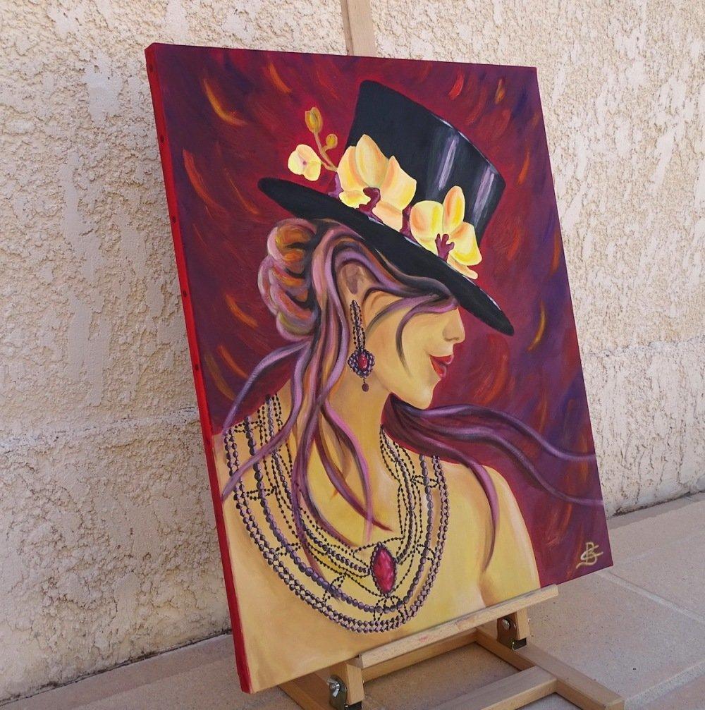 Tableau peinture, peinture sur toile, tableau contemporain, femme chapeau, La femme aux fleurs