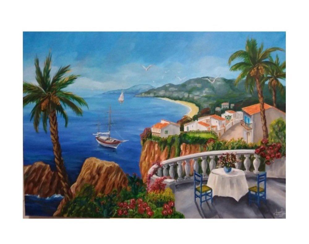 Tableau peinture sur toile, tableau palmiers, peinture mer, paysage de provence, Les palmiers sur le balcon