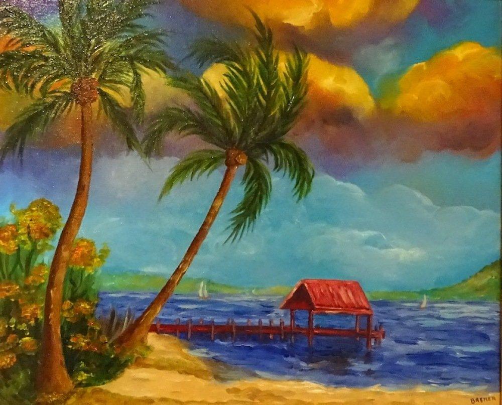 Tableau peinture à l'huile, tropique, tableau