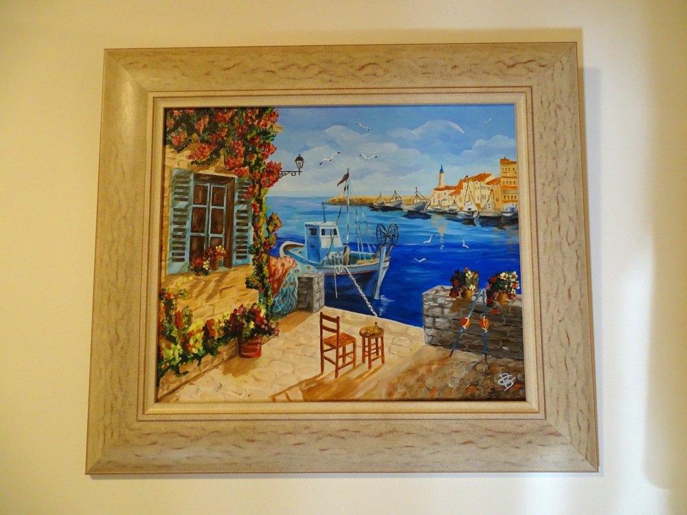 Tableau peinture sur toile, peinture à l'huile, tableau paysage, mer déco, marin, Provence