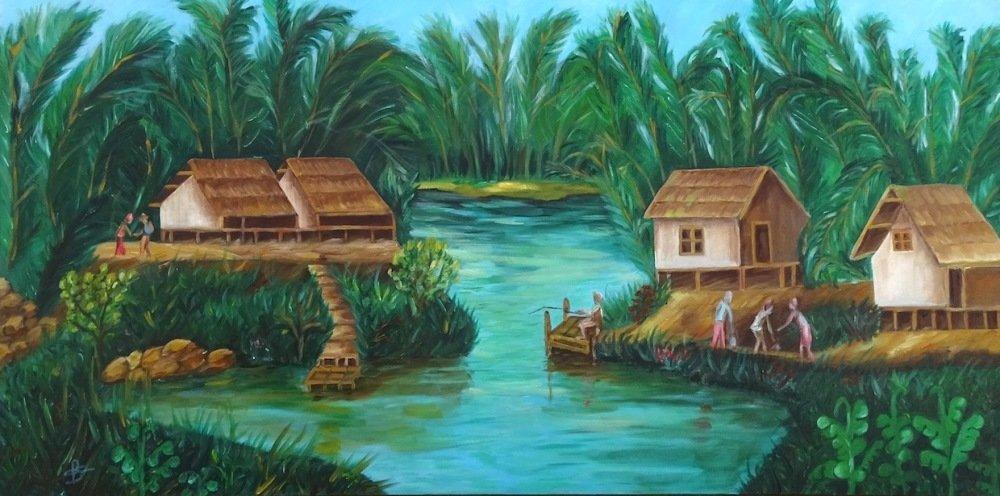 Tableau peinture sur toile, Asie, Vietnam, peinture à l'huile, Asiatique mural, paysage, Eau du Vietnam