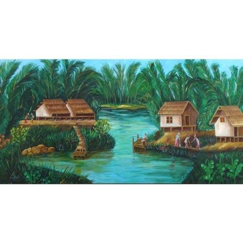 Tableau Peinture Sur Toile Asie Vietnam Peinture à L Huile Asiatique Mural Paysage Eau Du Vietnam