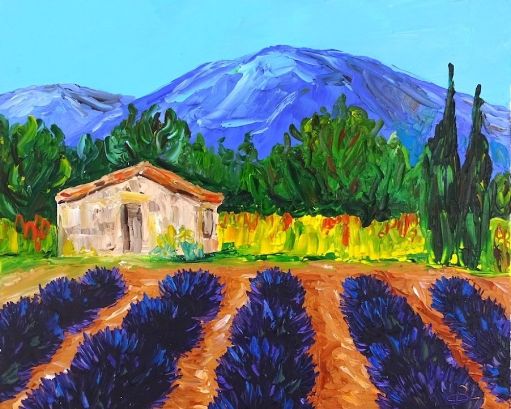 Tableau peinture sur toile, provence, paysage