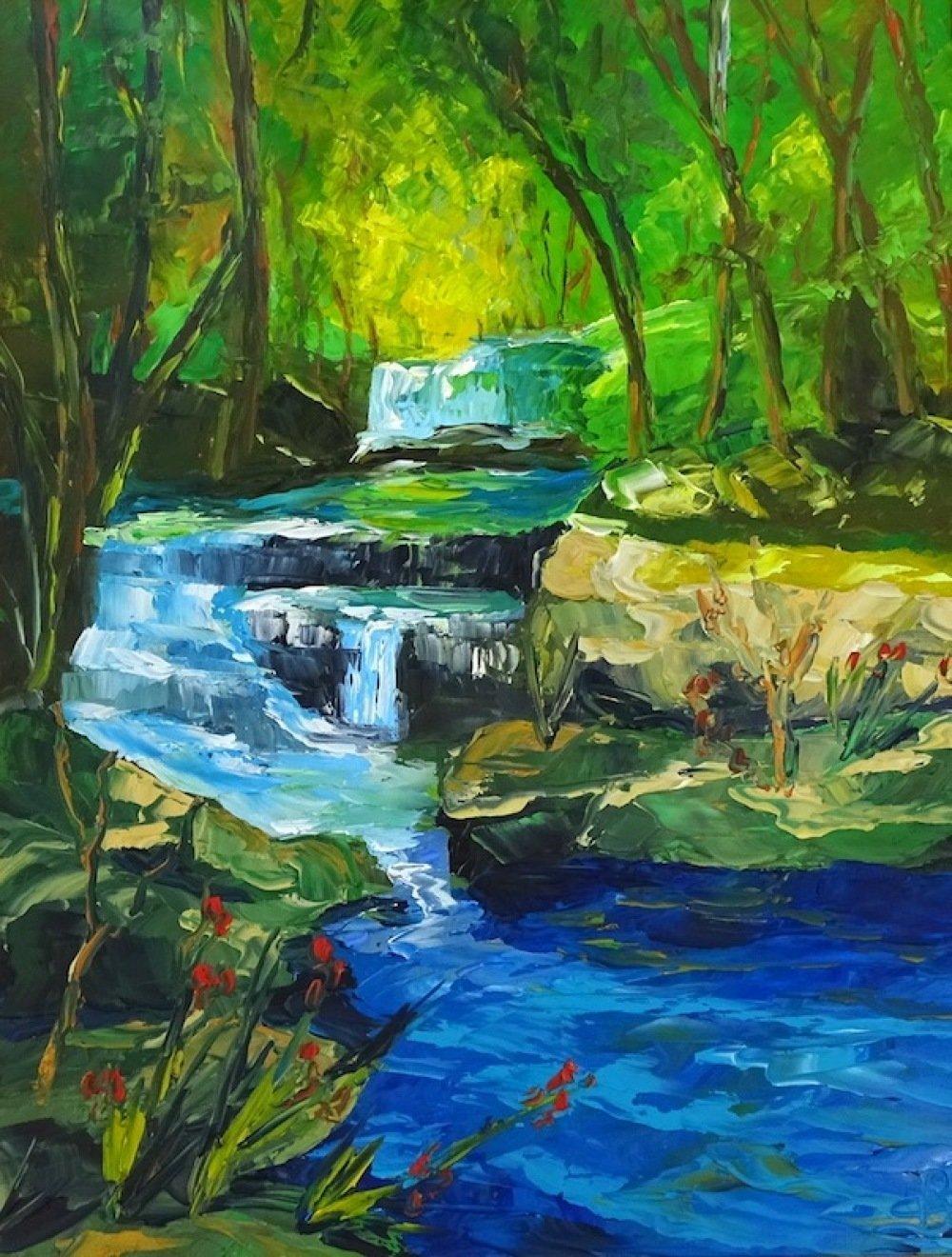 Tableau peinture sur toile à l'huile, peinture couteau, tableau rivière, tableau paysage, La cascade