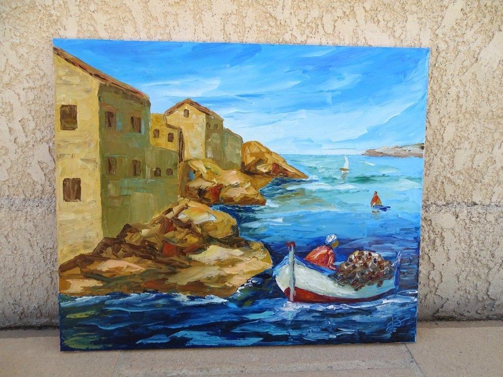 Tableau peinture sur toile au couteau, tableau