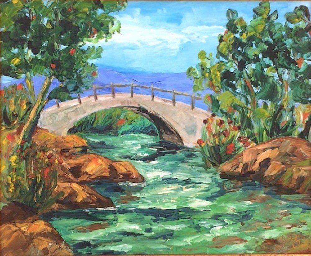 Tableau peinture sur toile à l'huile, peinture couteau, tableau rivière, tableau paysage, Petit pont