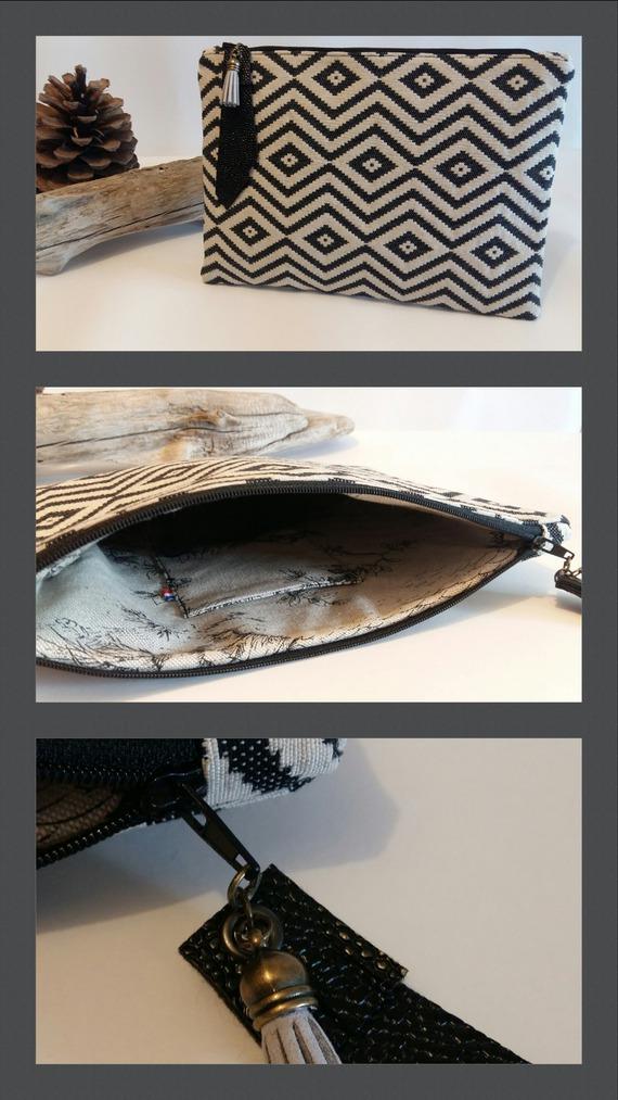 Pochette - Graphique - Tissu tissé - losange noir - 27x21x2 cm