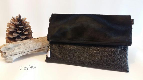 Sac à bandoulière Charly - Simili cuir/fourrure synthétique - Noir - 29x21x3 cm
