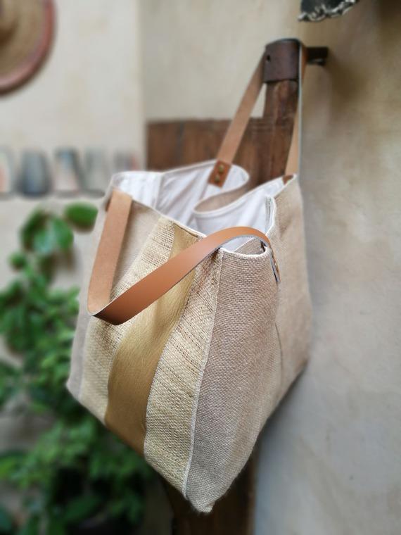 Sac Cabas - Collection Bling - Toile de jute, rafia et simili cuir doré