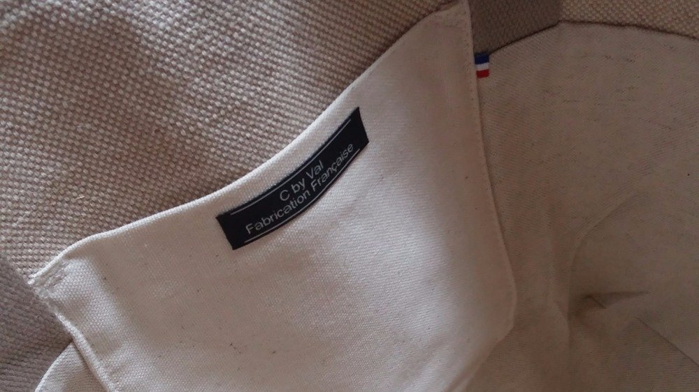 Sac Cabas - Toile tissée de coton/jute, coton imprimé, galon pompons écru - Style Boho chic
