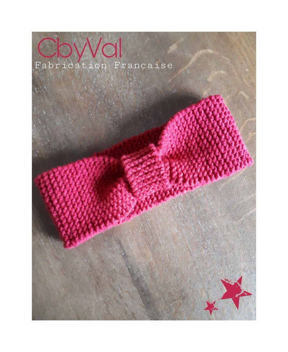 Bandeau Turban/Headband Eva - 100% acrylique de couleur Rouge Fushia