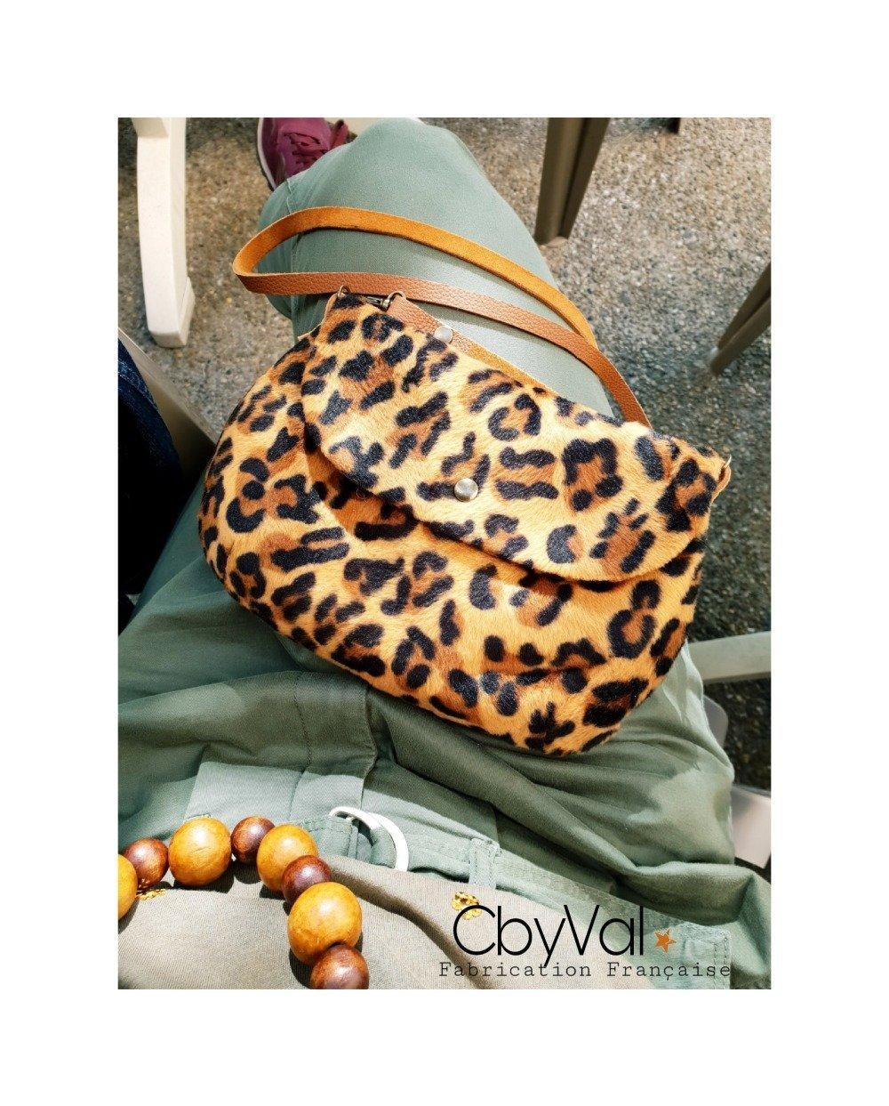 Sac pochette à rabat imprimé Leopard