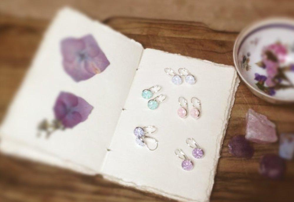Boucles d'oreilles dormeuses Dandelion, couleur «fougères», en argent 925 millièmes