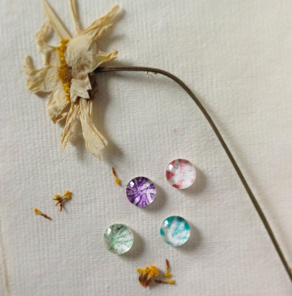 """Bague """"Dandelion"""" en argent 925 millièmes, coton et verre"""
