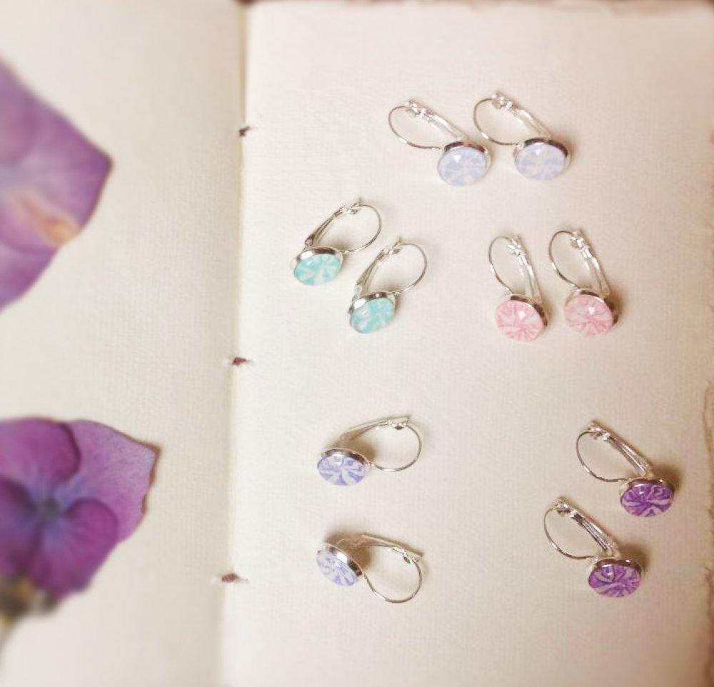 Boucles d'oreilles dormeuses Dandelion, couleur «rose sauvage», en argent 925 millièmes