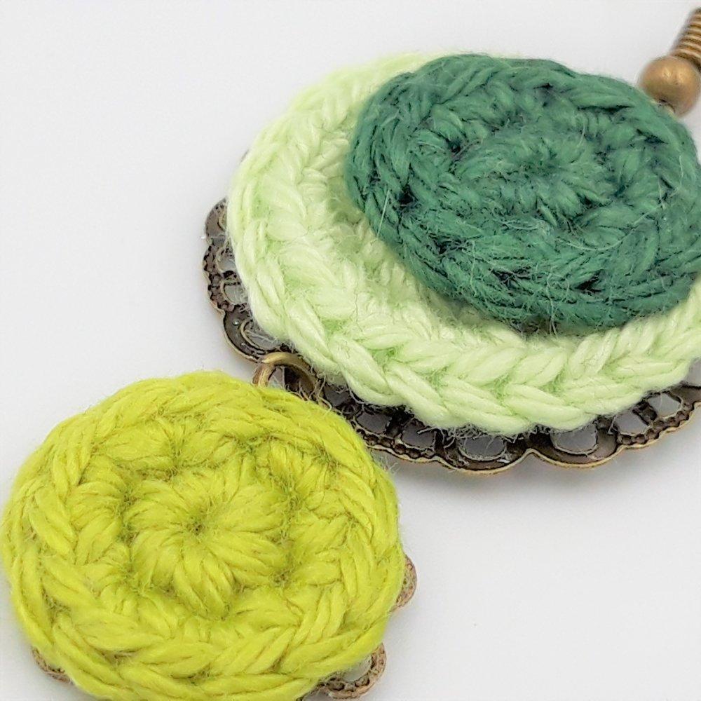 Boucles d'oreille camaïeu vert au crochet