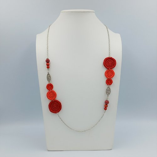 Sautoir rouge - collection a-symétrique