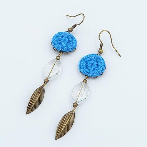 Boucles d'oreille turquoise - feuille
