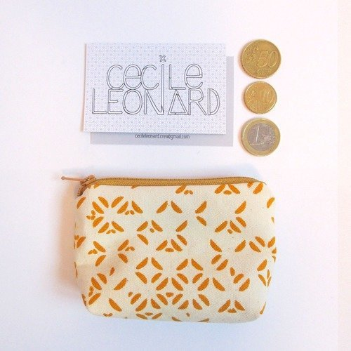 Mini pochette motifs géométriques jaune