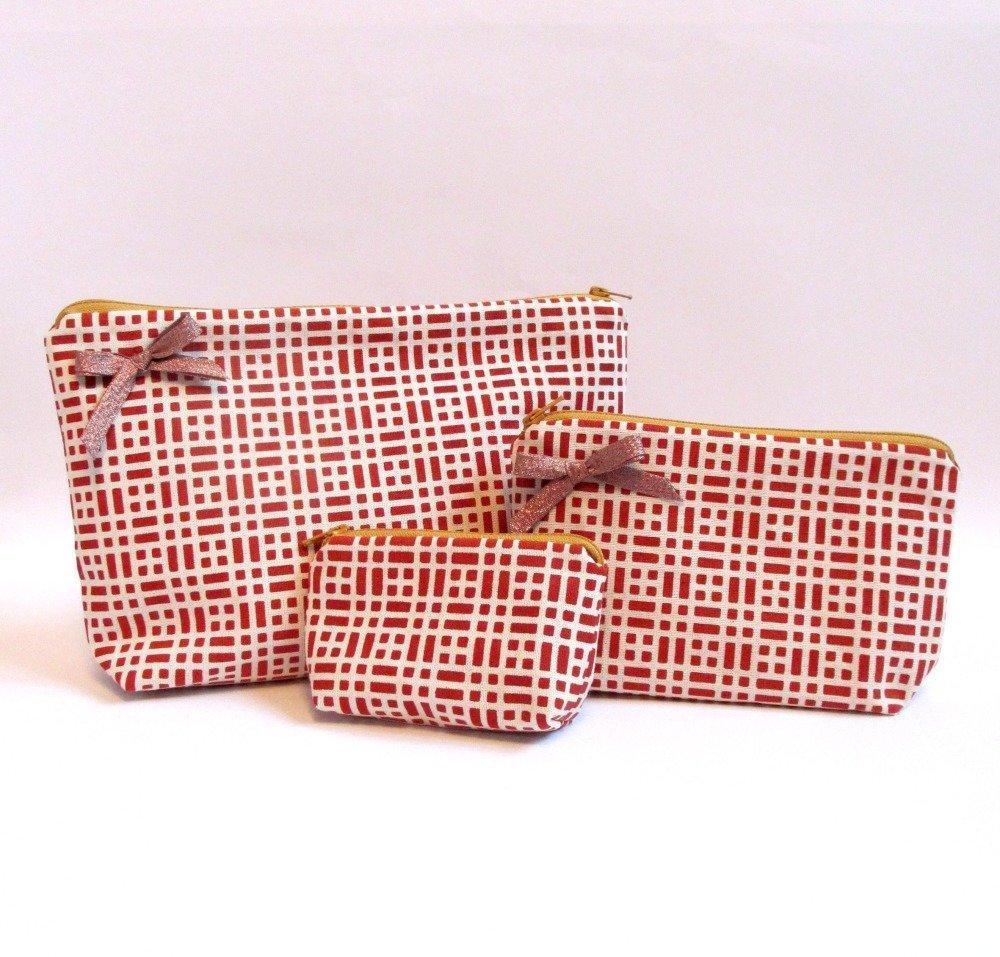 Petite Pochette à noeud brillant motif géométrique brique