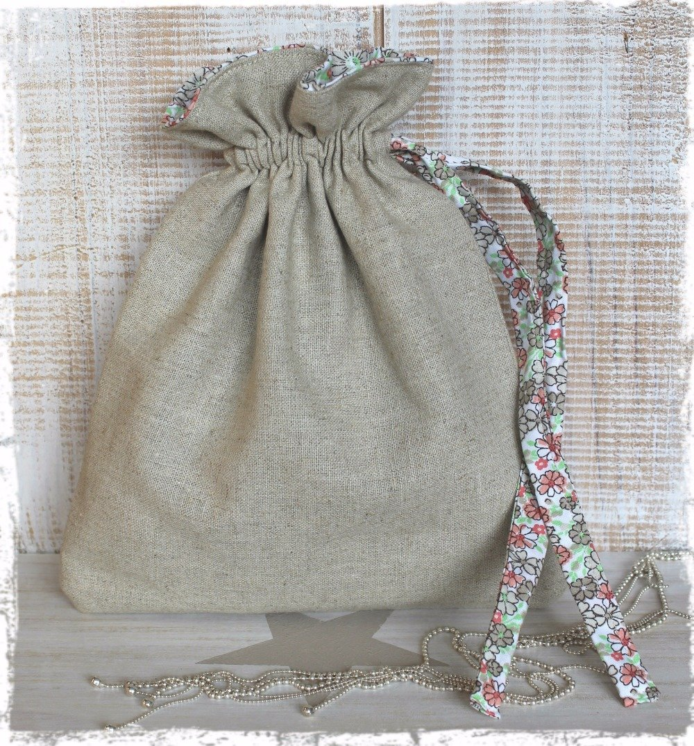 Fête des mères / Sac pochon pour bijoux ou petits accessoires – Esprit «Nature & Liberty»