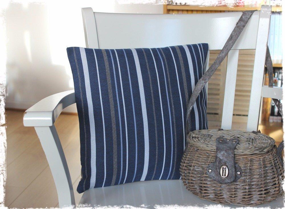 Fête des Mères / Housse de coussin à rayures bleues  - Esprit « Bord de Mer »