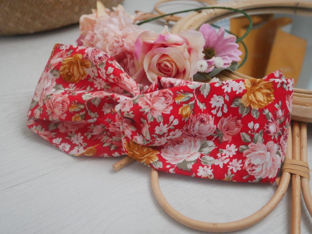 Headband rouge fleuri