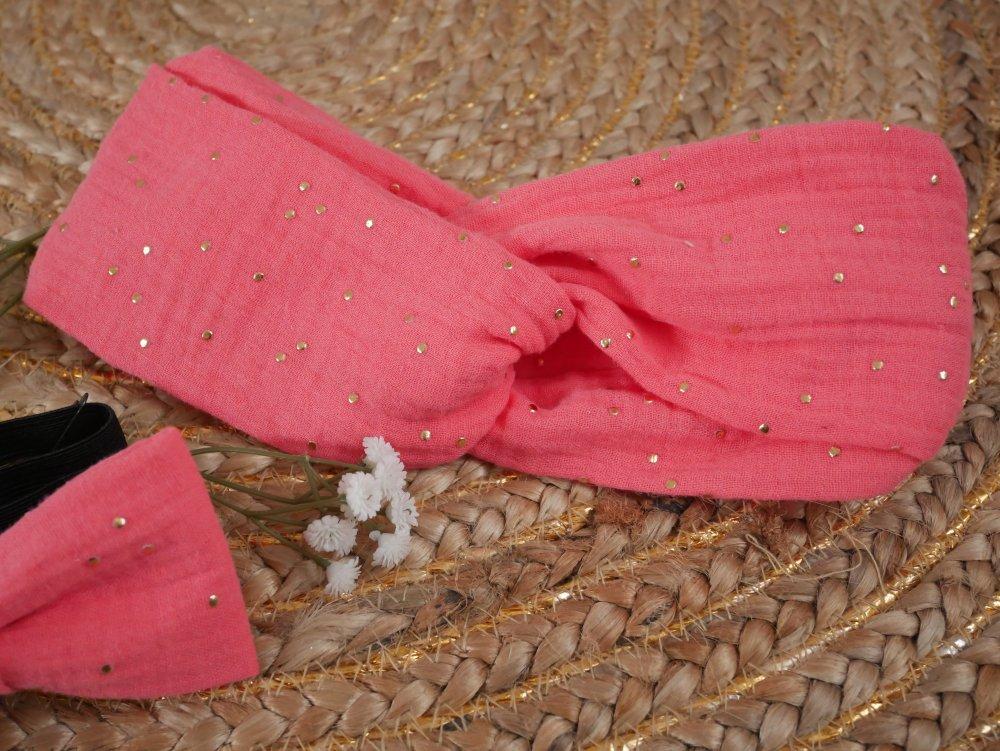 Headband corail à pois dorés