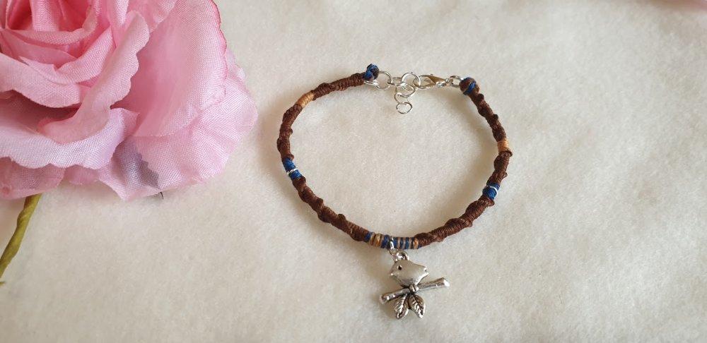 Bracelet porte-bonheur  marron,bleu et doré