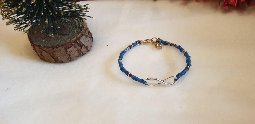 bracelet porte-bonheur enfant +6 ans bleu,marron.