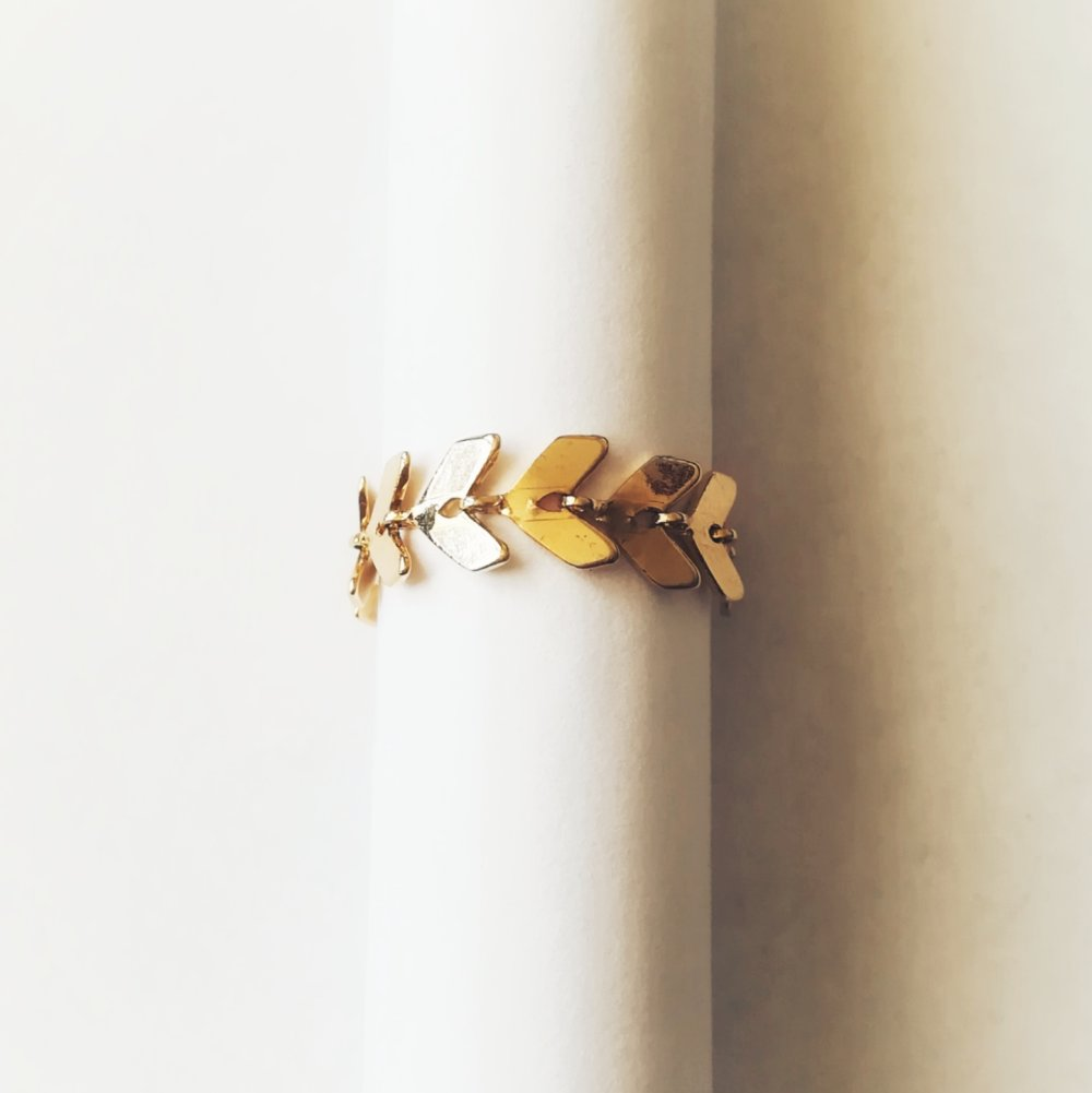 Bague chaîne épi doré