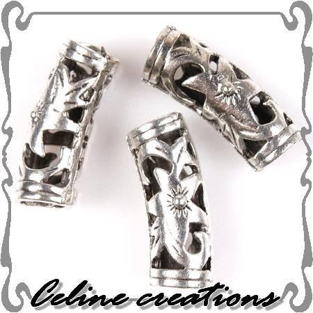 4 perles charm tubes courbées métal argenté 19 x 7 mm