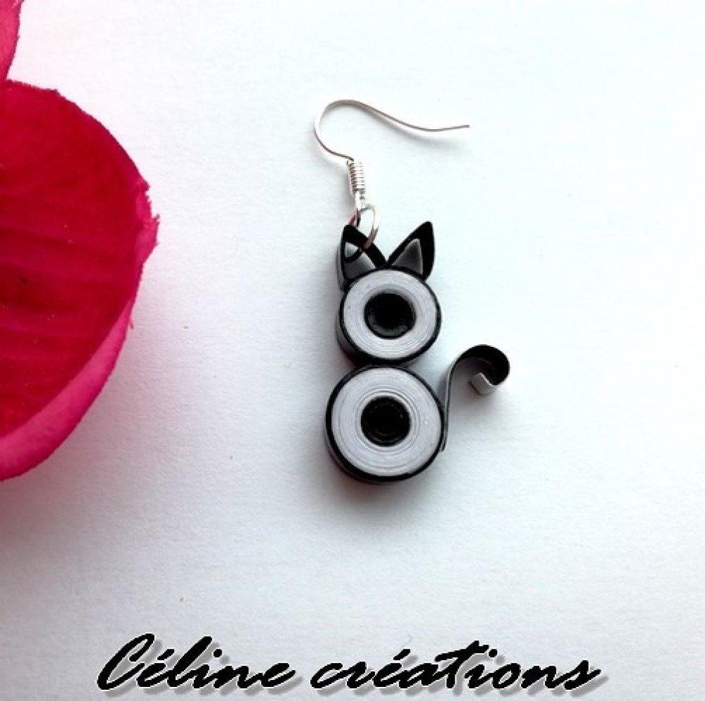 Boucles d'oreilles en papier quilling chat noir et blanc
