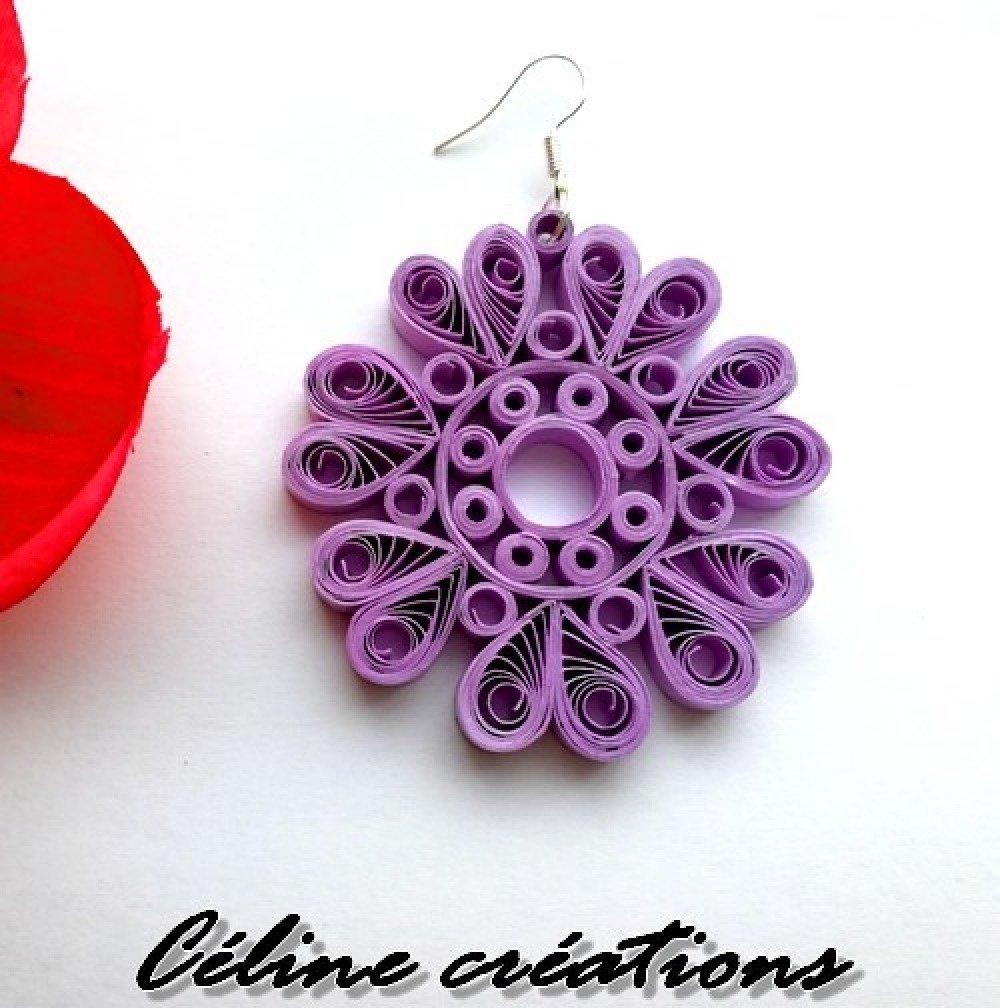 Boucles d'oreilles créoles papier quilling fleurs couleur lavande