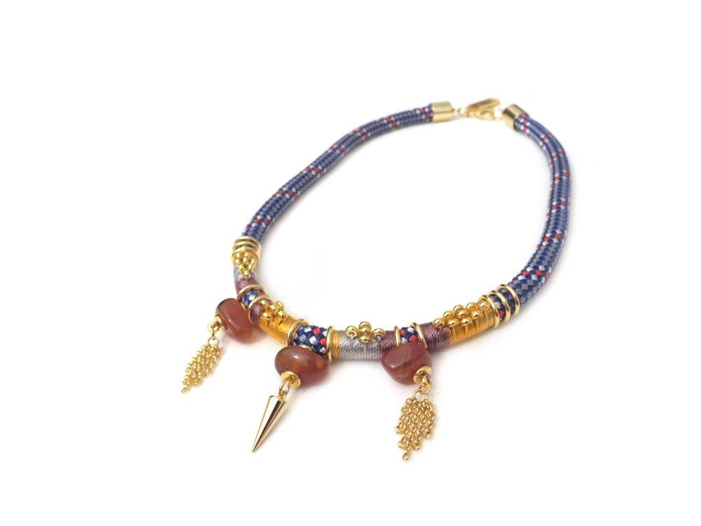 Collier plastron corde ethnique pierres semi précieuses et pampilles or ALPHA