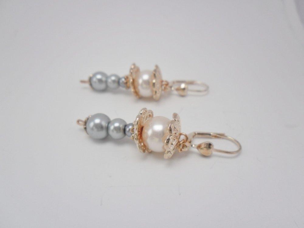 """Boucles d'oreilles dormeuses OR ROSE """" Or rose et gris """""""
